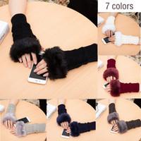 модные рукавицы оптовых-Women Winter Wrist Arm Hand Warmer Knitted Long Fingerless Gloves Mitten New