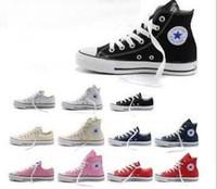 yetişkin spor ayakkabıları toptan satış-Fabrika satış YENI size35-45 Yeni Unisex Düşük Üst Yüksek Top Yetişkin kadın erkek Kanvas Ayakkabılar 14 renkler Bağcıklı Up Casual Ayakkabı ...