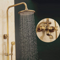 Wholesale antique brass shower handles for sale - Group buy Bathroom Rain Shower Set Antique Bronze Wall Mounted Bath Shower Faucets with Hand Shower Wall Mounted