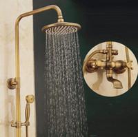 juegos de ducha al por mayor-Cuarto de baño ducha de lluvia conjunto de bronce antiguo montado en la pared grifos de ducha de baño con ducha de mano montado en la pared