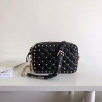 Wholesale Designer Bags Studs - Luxury Designer shoulder bag Rock Stud Revit Women Camera Bag Quilted nappa lambskin leather Dual zip closure