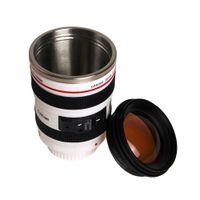 tapa de la taza de café blanco al por mayor-14 * 8 cm Blanco / Negro Durable Diy Frascos de vacío de acero inoxidable Taza de café de viaje Taza Agua Café Té Taza de lente de cámara con tapa