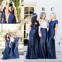 Wholesale Beautiful Silver Bridesmaid Dresses - 2018 Newest Beautiful Country Style Sequins Bridesmaid Dresses Royal Blue Two Pieces Mix and Match Bridesmaid Dress Custom Made Party Gowns