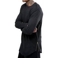 дизайн футболки оптовых-Черно-белая мужская футболка с длинным рукавом в стиле хип-хоп на молнии с круглым вырезом