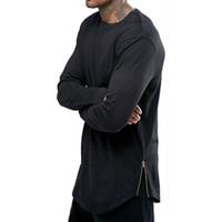 yuvarlak uzun gömlek tasarımı toptan satış-Siyah Beyaz erkek Uzun Kollu Hip Hop Fermuar Tasarım T Gömlek Yuvarlak Boyun Hem Ark Moda Üst Tshirt