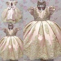 ingrosso vestiti da compleanno per ragazze adolescenti-Le più nuove ragazze di fiore delle maniche corte si vestono l'abito del pageant del partito di compleanno del vestito da comunione dei bambini dell'arco del gioiello di Big Bow Toddler