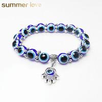 pulseira de mão hamsa azul venda por atacado-Moda Turquia Mal Olhos Azuis Beads Pulseiras Homens Mulheres Religiosa Hamsa Mão Encantos Pulseira Pulseiras Jóias Por Atacado