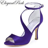 gelin nedime sandaletler toptan satış-Kadın Sandalet Yüksek Topuk Mor Bordo Peep Toe Çapraz Ayak Bileği Kayışı Saten Lady nedime Balo Parti Düğün Gelin Ayakkabıları HP1565