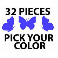arte de parede de vinil de borboleta venda por atacado-Adesivos de palavras Frete grátis 32 unidades / pacote 16big + 16small Borboletas Borboleta decorativa decoração Wall Decor Art Vinyl Decalque Adesivos, T2000