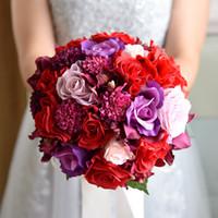 mor pembe buket toptan satış-Gül Kristal Düğün Buket Mor Pembe Kırmızı Gümüş Çiçekler Gelin Buketi Nedime Düğün Aksesuarları En Kaliteli