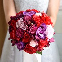 Wholesale bridal wedding bouquet purple resale online - Rose Crystal Wedding Bouquet Purple Pink Red Silver Flowers Bridal Bouquet Bridesmaid Wedding Accessories Top Quality