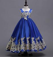 bordo kızlar için gelinlik toptan satış-Kraliyet Mavi Kızlar Pageant Elbise 2019 Abiye Bordo Çiçek Kız Elbise Düğün Için Boyut 4 6 8 10