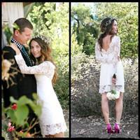Wholesale Vintage Bridal Gowns For Sale - 2018 Cheap Sale Short Wedding Dresses Long Sleeve Jewel Neck Sheath Mini Simple Design Bridal Gowns for Garden Wedding Custom Made