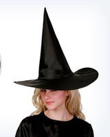 siyah büyü kadın toptan satış-Erkek Kadın Çocuk Şapka Cadılar Bayramı Kostüm Aksesuarları Parti Sahne Sahne Cadı Şapka Sihirbazı Magic Harry Şapka Cosplay Siyah Şapka Ücretsiz Boyutu