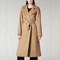 kadın yün moda ceket toptan satış-Bölünmüş kadın yün ceket ile kuşaklı ceket ceket kadınlar moda kaşmir dış giyim uzun Yün Kaşmir Kadın Coat