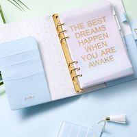 cadernos escola bonito venda por atacado-Dokibook Lovedoki nova agenda 2018 freeshipping notebook A5 A6 planejador kawaii diy diário bonito escola estacionária tarja primavera Azul