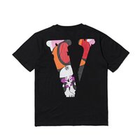 Wholesale mens v necks t shirts - VLONE V MIAMI VICE T-Shirts V Print Tee Mens Hip Hop t shirts Loose Tops Crewneck tshirt 2018 Spring European VLONE Short Sleeve HFLSTX174