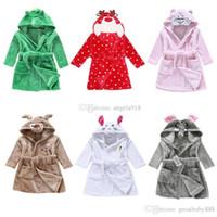Wholesale cotton flannel nightgowns - New Cartoon dinosaur Mouse deer bathrobe Flannel Kids animal Robes cartoon Nightgown Children Towels C1706