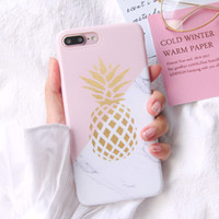 Wholesale pineapple patterns - Gold Pineapple Phone Case For iphone 6 Case Geometric Splice Stone Marble Texture Pattern Cases For iphone 5 5S SE 6 6S 7 8 8 Plus X Cover