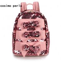 Wholesale bag school girl korea for sale - Group buy Magic Reversible Sequins Backpacks Women Panelled Cute Bow Travel Shoulder Bag Kawaii Korea Leather School Backpack Girls