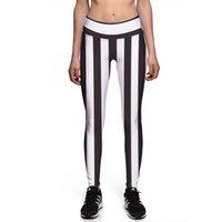 zebra çizgileri ince toptan satış-Seksi Kız Ince Pantolon Kadın Tayt Artı Boyutu Siyah Beyaz Stripes Zebra 3D Baskılar Yüksek Bel Egzersiz Spor Tayt 0119