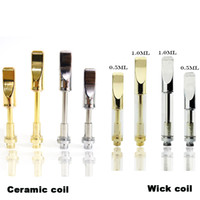 Wholesale oil vapes - 92A3 Vape Atomizer Ceramic Coil Wick Thick Oil Cartridges Vaporizer Siliver Gold Pen Cartridges Glass Tank Metal Drip Tip 510 Vapes Dab Pens