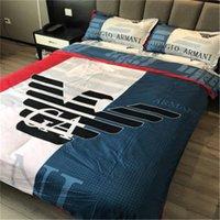3d bedding set großhandel-Stripes Fashion Skin Friendly Bettwäsche warmen farbigen Bettlaken Set Baumwolle Brief drucken Heimtextilien Anzug