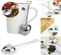 Wholesale wholesale heart shaped locks - New Heart Shape Stainless Steel Tea Infuser Spoon Strainer Steeper Handle Shower Locking Infuser Filter DDA216