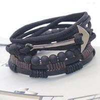 hameçon bijoux achat en gros de-bracelets de bijoux de créateurs perlés pour les hommes hameçon, ancre de bateau, cuir, bracelets double pont, mode chaude, sans expédition