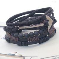 рыболовные украшения оптовых-designer jewelry bracelets beaded for men fishhook boat anchor leather double-deck bracelets hot fashion free of shipping