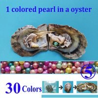 Wholesale 8mm Purple Beads - 10 PCS free shipping round pearl oyster 6-8mm peacock, Dark pink, teal, purple, green colored pearl beads in oyster with vacuum-packed 03