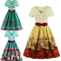 Wholesale rockabilly dress plus size - Plus Size Summer Women Vintage Audrey Hepbum 50s Rockabilly Robe Retro Party Dress Feminino Vestidos Casual Wears FS1094
