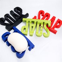 Wholesale Black Dishes - Letter Shape Soap Dish Holder Hollow design Non Residue with Water Soap Shelf with Suction Cup Sucker Sponge Debris Storage Dish