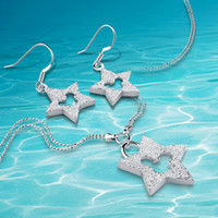 комплект ювелирных изделий в форме звезды оптовых-925 sterling silver Necklace/Earrings women Jewelry Sets ,bead star-shaped necklace.Grind arenaceous stars necklace sui