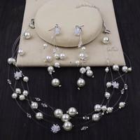 ingrosso collana coreana del diamante della perla-Nuova collana di gioielli sposa coreana diamante perla fiore zircone orecchini due abiti da sposa accessori