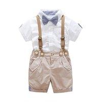 camisa de corbata para niños al por mayor-Conjuntos de ropa de bebé para niños Niños Niños Caballeros Ropa Recién nacido Corbata Camisa de manga corta Pantalones de liga Conjunto de traje