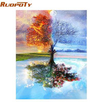 abstract acrylic wall art paintings 2021 - RUOPOTY Frame Tree DIY Painting By Numbers Modern Wall Art Picture Coloring By Number Acrylic Canvas Painting For Home Decor