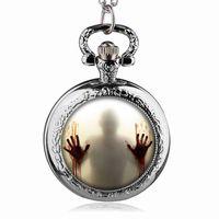 Wholesale american pocket watch - Bronze Silver The Walking Dead Theme Zombie Design Quartz Pendant Pocket Watch Best Gift To American Drama Fans #112303