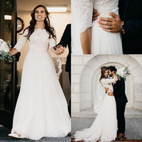 Wholesale informal beach bridal gowns - Champagne A-line Ivory Lace Modest Wedding Dresses 2018 With Half Sleeves Boat Neck Short Sleeves Informal Boho Country Bridal Gowns Sleeved
