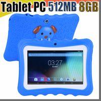 pc livre da tabuleta da polegada do transporte de dhl venda por atacado-DHL Frete Grátis Crianças Marca Tablet PC 7 polegada Quad Core childrent Android 4.4 Allwinner A33 Atualização 8 GB wi-fi capa protetora L-7PB