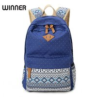 Wholesale Canvas Dots Backpacks For Girls - Vintage School Bags for Teenagers Girls Schoolbag Large Capacity Lady Canvas Dot Printing Backpack Rucksack Bagpack BookBag