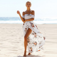 Women Maxi Dress Summer Casual Chiffon Floral Print Bohemian Beach Dresses  Sexy Off Shoulder Strapless Long Dress LDF700 2a0efe5411be