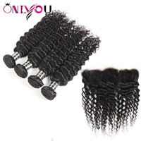 Wholesale remy human hair soft for sale - Group buy Onlyouhair Peruvian Hair with Frontal Closure Deep Wave Human Hair Bundles with Frontal Ear to Ear Soft Deep Wave Remy Hair Weave Bundles