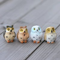 Wholesale owl carvings resale online - Moss Lichen Micro Landscape Originality Green Planting Gift Resin Mini Bare Feet Owl Home Decoration Accessories Ornament Prop cj bb