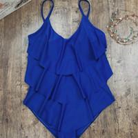 Wholesale siamese swimwear online - Lady Swimwear Pure Color Woman Beach Swimsuitfemme Bikini Siamese Nylon Waisted Lotus Leaf Bathing One Piece Suit by V