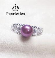 ingrosso insieme doppio dei monili della perla-Anello in argento sterling massiccio con zirconi, doppio anello di montaggio, anello senza perla, gioielli fai-da-te. FAI DA TE