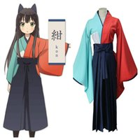 Wholesale Top Anime Cosplay Costumes Female - Free shipping Japanese Anime Urara cosplay tatsumi kon cos costume Halloween kimono full set (top+pants+Headwear)
