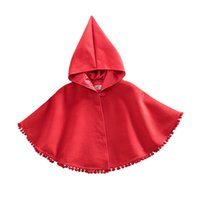 poncho de capa roja al por mayor-D2 Baby Kids Toddler Red Warm Hooded Cape Cloak Poncho Coat Hoodie Chaqueta Outwear