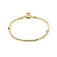 14 ayar altın bilezik zincirleri toptan satış-1 adet Drop Shipping Altın LOGO ile Bilezikler Yılan Zincir Fit pandora Bileklik Logo Altın Bilezik Kadınlar için Çocuk Hediye