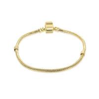 Wholesale 14k gold bracelet chains for sale - Group buy 1pcs Drop Shipping Gold Bracelets with LOGO Snake Chain Fit for pandora Bangle Logo Golden Bracelet Women Children Gift